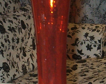 "Orange Glass Vase, Crimped 12""H, Lovely Design, Perfect for Fall Decor"