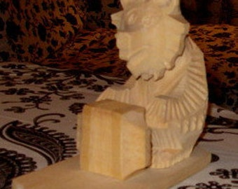 Vintage Carved Wood Russian Bear w Accordian XLarge
