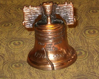 "Vintage Liberty Bell, Copper Toned Metal, Heavy Bell, Really Rings, 3""H, 1970's"