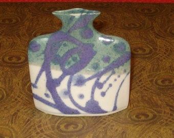 "Vintage Vase, Handmade Pottery, Signed, Marked, 3""x 3"", Lovely Flat Sharp Design"