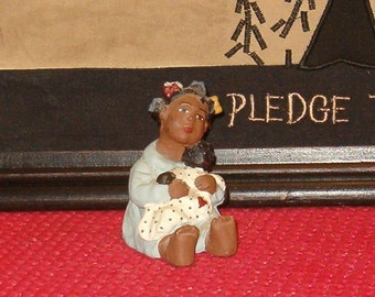"Vintage Black Girl Holding Her Dolly by Carolyn Carpin, 1984, 2 1/2""H, Handmade"