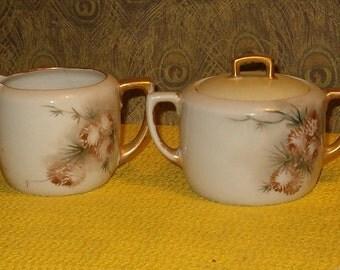 Cream & Sugar Set, Lidded, Porcelain, Painted Pinecones, M Z Austria, Dynasty,