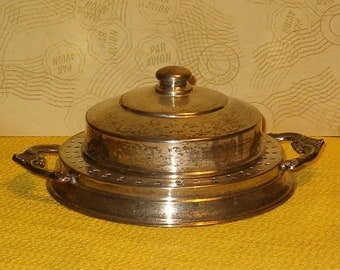 """Vintage Silver Caviar Server w Glass Insert and Lid, Area for Ice, Marked CL, ER on Copper, 7.5""""L"""