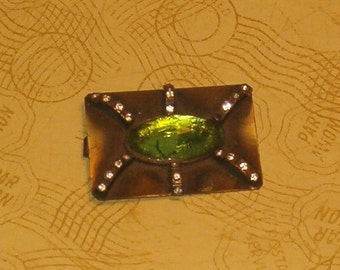 Vintage Buckle, Half of the Buckle w Hook on Back, 1930's or Earlier, Deco Green Stone w RH
