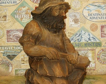 Vintage Decanter Bottle, Carved Wood, I think, German Grizzly Man w Log & Ax, Empty Bottle, 1970's or Earlier