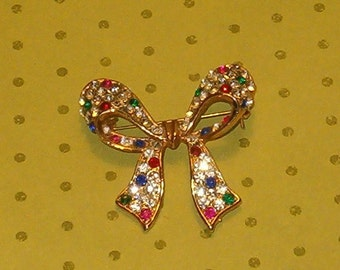 "Vintage Bow Pin, Multicolored Rhinestones, Heavy Metal, Gold Tone, 1960's, 1 3/4""L Lovely Condition"