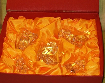Glass Figurines of Five Dogs, Hand Blown, Variety of Sizes, Original Red Case w Yellow Satin Lining
