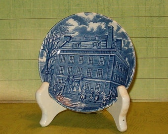 "Vintage Liberty Blue Mini Plate, 4 1/4""W, Historic Colonial Scene, Made in England, 1970's or Earlier"