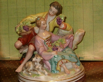 """Boucher, Made in France Ornate Figurine, Vintage, N Mark w Blue Crown, 6.5""""W, 6.5""""L, Ornate, as is"""