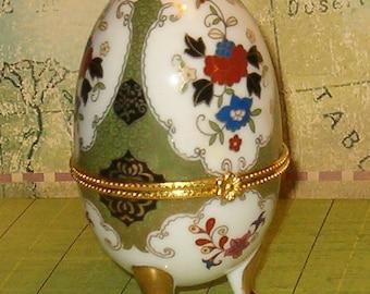 "Porcelain Egg Trinket Box, Ornate Design, Metal Fittings, Perfect Gift, 4""H, 1970's, No Maker Marks"