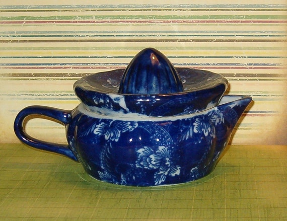 Vintage Reamer Juicer, Flow Blue w Flowers, Thick Porcelain, Royal Tapestry, 1940's or Earlier, Maybe English