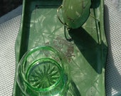 Vintage 3 Piece Art Deco Pearlized Plastic Tray with Matching Lid Green Glass Powder Jar - FREE SHIPPING