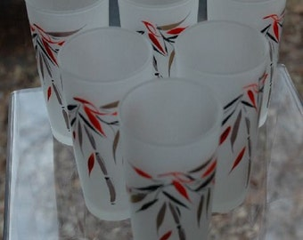 Vintage 6 Hazel Atlas Glass Tumblers Oriental Bamboo on Frosted White Barware/Drinkware - FREE SHIPPING