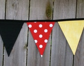 Minnie or Mickey Mouse Fabric Bunting Banner - Birthday Party Decoration or Disney Room Decor - Ready to Ship