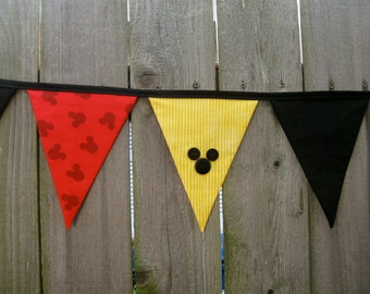Mickey Mouse (New Pattern) or Minnie Mouse Deluxe Fabric Bunting Banner - Birthday Party Decoration or Disney Room Decor - Ready to Ship