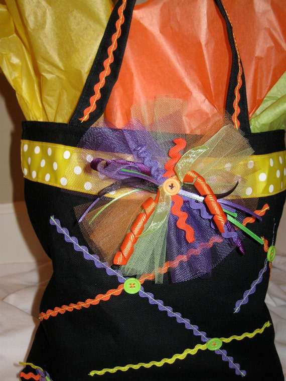 Halloween Trick or Treat Bag - Purple Lime Green Orange - Decorated with Ribbon, Rick Rack, Tulle and Buttons