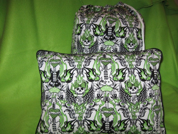 Travel Blanket 3 Piece Set - Clearance Sale 50% Off - Blanket, Pillow Case, & Tote Bag - Lime Green Skulls Guitar Punk- Ready to Ship
