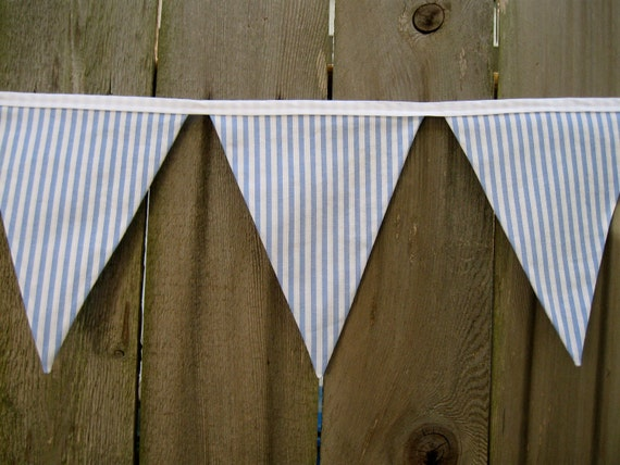Nautical Nursery Bunting Banner - Room Decor - Birthday Party - Light Blue and White Striped Seersucker - Vintage Fabric