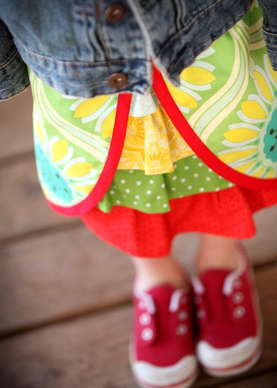 Little girls Peek a boo Ruffle Skirt. Aqua, Green, Red, Yellow. Ready to ship in size 4-5