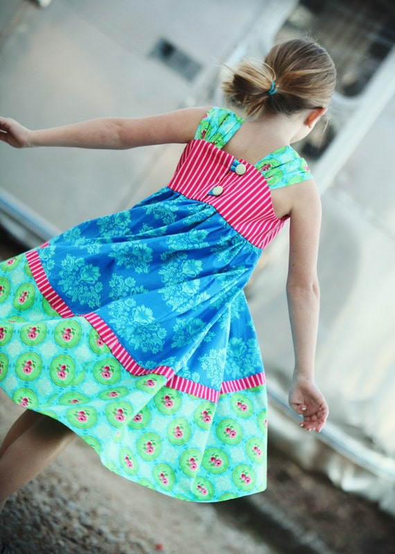 Cobalt Rose Little Girls Boutique Double Button Sundress in blue, pink and aqua, With detachable flower.