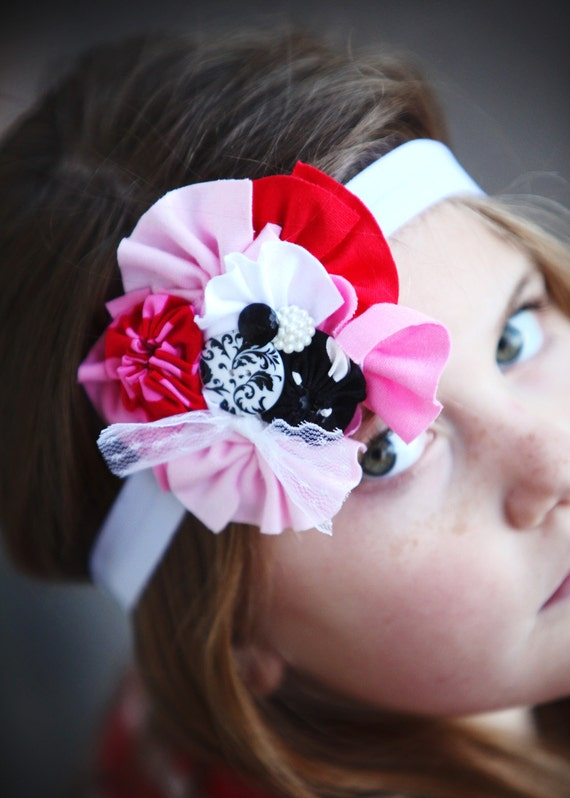 Love Bliss Vintage style Valentine Headband fits size infant to little girl