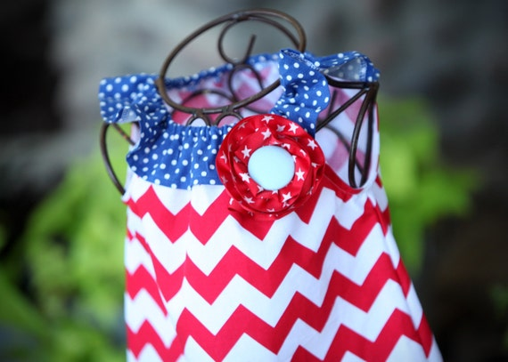 3 Cheers for the Red, White and Blue Chevron Ruffle Dress Girls Size 6