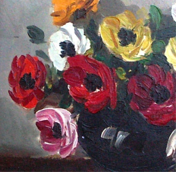 Still life oil painting flowers in vase 1960s France frame gorgeous real oil painting poppies 61