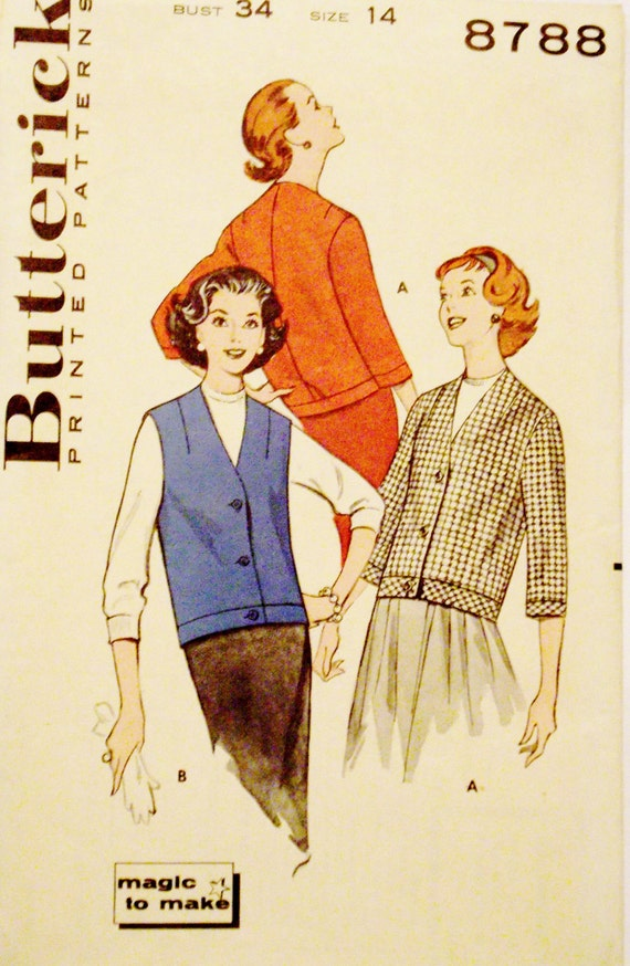 Butterick 8788 Vintage Sewing Pattern 1950s size 14 Chemette Magic to Make Jacket