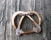 Hand Made Hammered Copper Pretzel Necklace