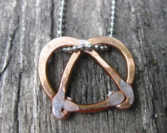 Hand Made Hammered Copper Pretzel Necklace