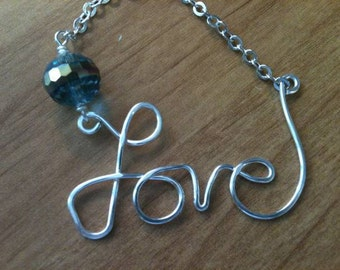 Valentines Day Silver 'Love' Necklace with Crystal