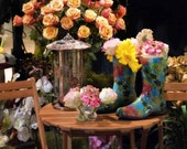 Rain Boots and Flowers 2, 16x20 Canvas Gallery Wrapped Fine Art Photograph