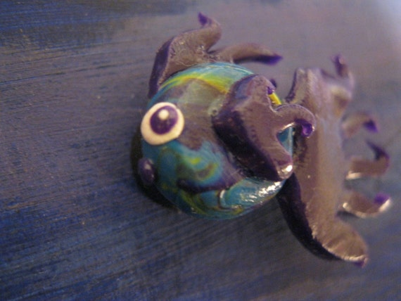 Miniature fish magnet purple teal and green betta ooak by for Purple betta fish for sale