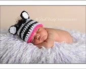 Baby Crochet Girl Zebra Hat Photography Prop Halloween Costume - Treasured Little Creations