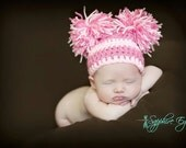 Baby Girl or Boy Newborn Striped Crochet Double Pom Pom Hat Photography Prop - Treasured Little Creations