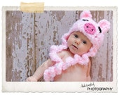 Baby Pig Hat and Diaper Cover Set with Curly Tail Photography Prop Pink Piggy - Treasured Little Creations