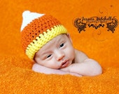 Baby Crochet Candy Corn Hat Halloween Costume, Photography Prop - Treasured Little Creations