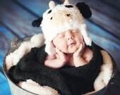 Baby Girl or Boy Newborn Cow Hat Photography Prop Farm - Treasured Little Creations