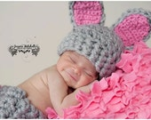 Baby Crochet Grey Bunny Easter Spring HAT ONLY Photography Prop - Treasured Little Creations