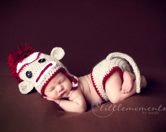 Halloween Costume Baby Crochet Sock Monkey Set with Diaper Cover & Tail Photography Prop - Treasured Little Creations