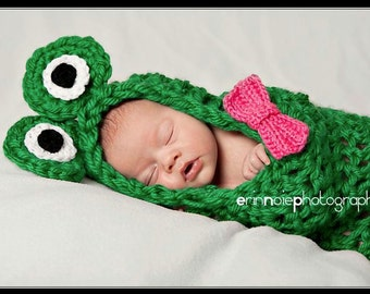 Baby Crochet Frog Cocoon WITH BOW Photography Prop - Treasured Little Creations