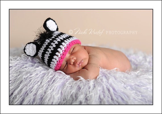 Baby Crochet Girl Zebra Hat Photography Prop Halloween Costume