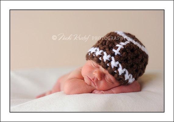 Baby Crochet Football Hat Boy Girl Newborn Toddler- Treasured Little Creations