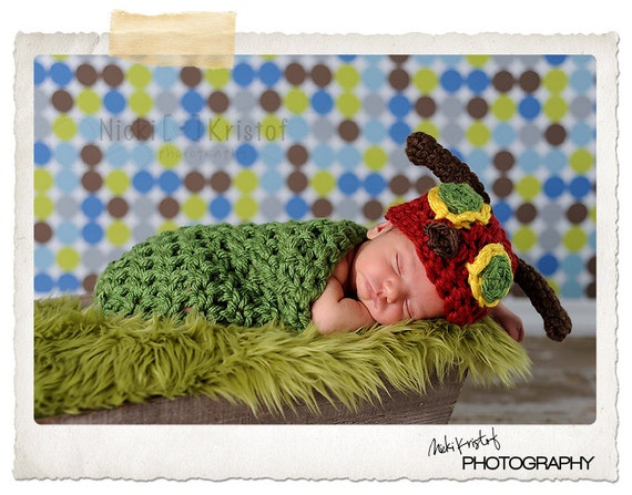 Hungry Caterpillar Set Newborn Halloween Costume Photography Prop - Treasured Little Creations