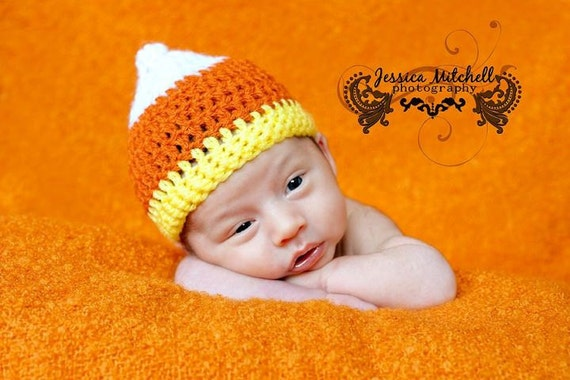 Items similar to Baby Crochet Candy Corn Hat Halloween ...