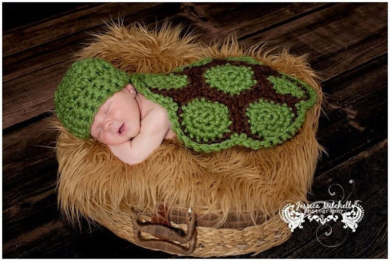 Baby Crochet Turtle Shell Hat and Cape Set Photography Prop - Treasured Little Creations
