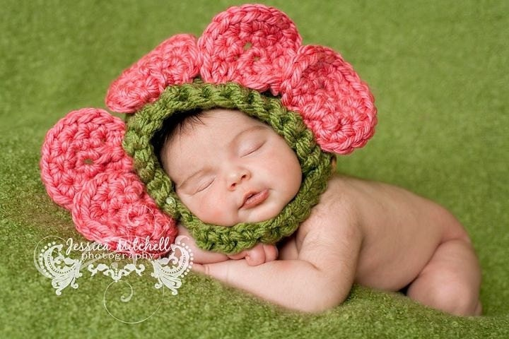 Easy Crochet Pattern For A Baby Hat : Baby Crochet Flower Hat Photography Prop by TreasuredCreation