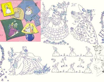 Vintage 6 Crinoline Lady transfers 16th series