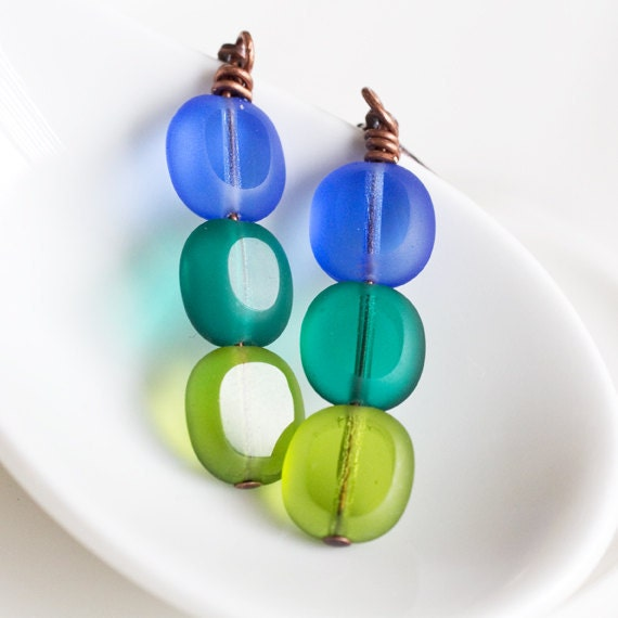 Blue Aqua Lime Frosted Glass Earrings