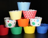 Cupcake Wrappers in Primary Colors Red Yellow Blue Orange Perfect for Sesame Street